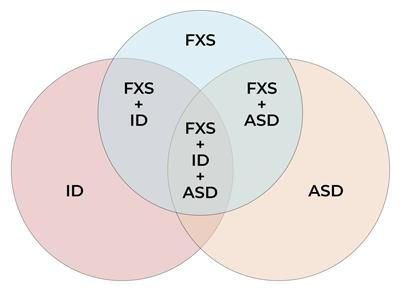 Venn diagram showing ID, ASD, FXS