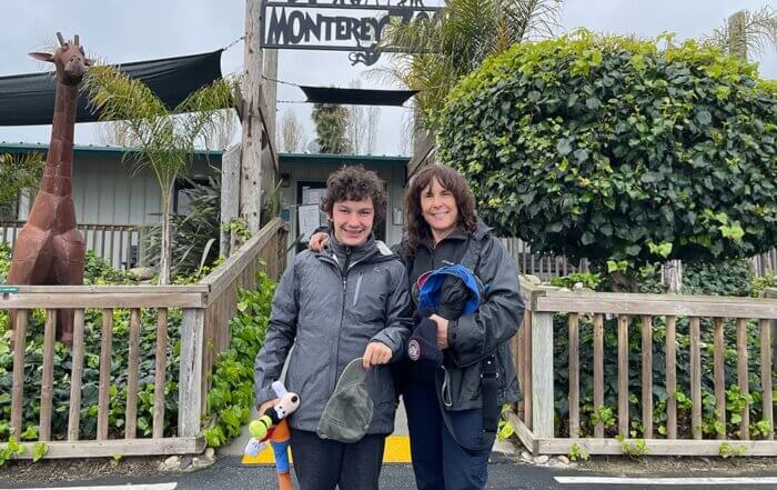 Zach and his mom at the Monterey Zoo